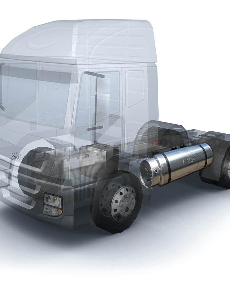 LKW Mit Eingebauten LNG Tank Aspect Ratio 8 10
